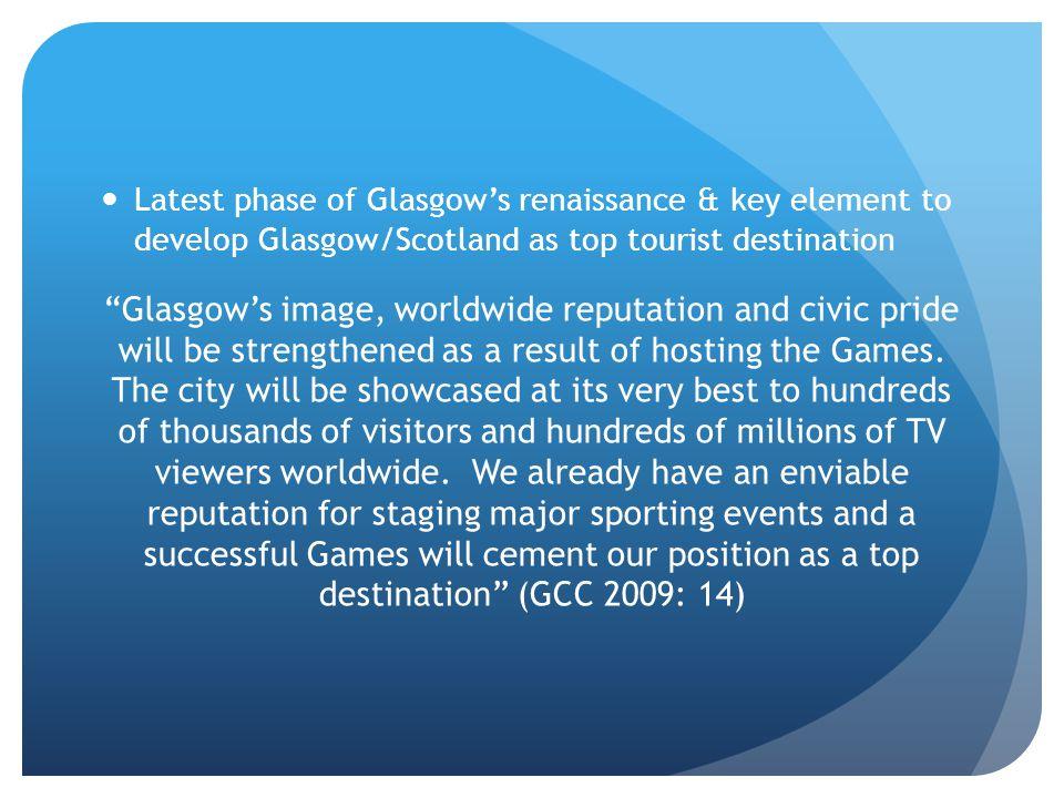 Latest phase of Glasgows renaissance & key element to develop Glasgow/Scotland as top tourist destination Glasgows image, worldwide reputation and civ