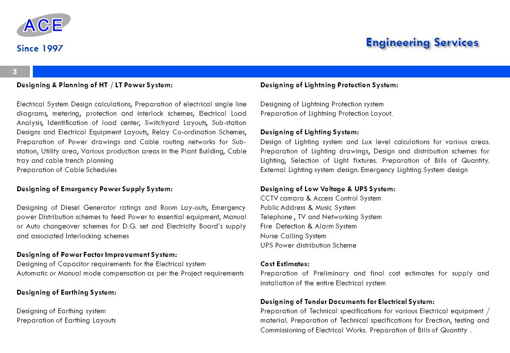 Designing & Planning of HT / LT Power System: Electrical System Design calculations, Preparation of electrical single line diagrams, metering, protect