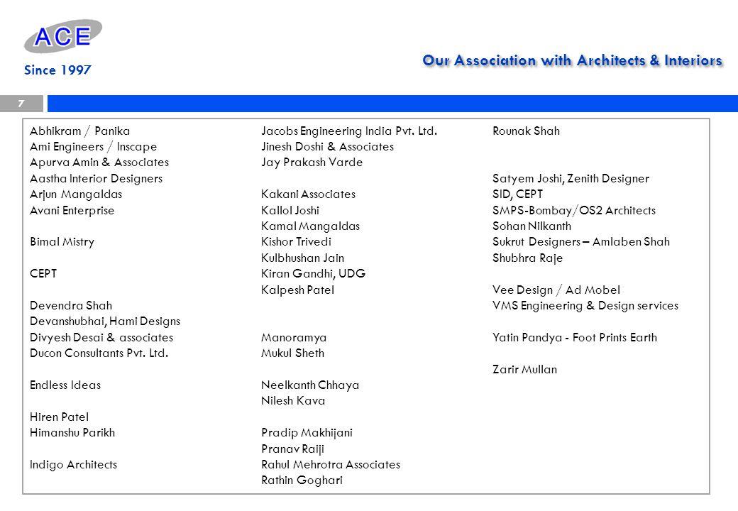 Our Association with Architects & Interiors Abhikram / Panika Ami Engineers / Inscape Apurva Amin & Associates Aastha Interior Designers Arjun Mangald