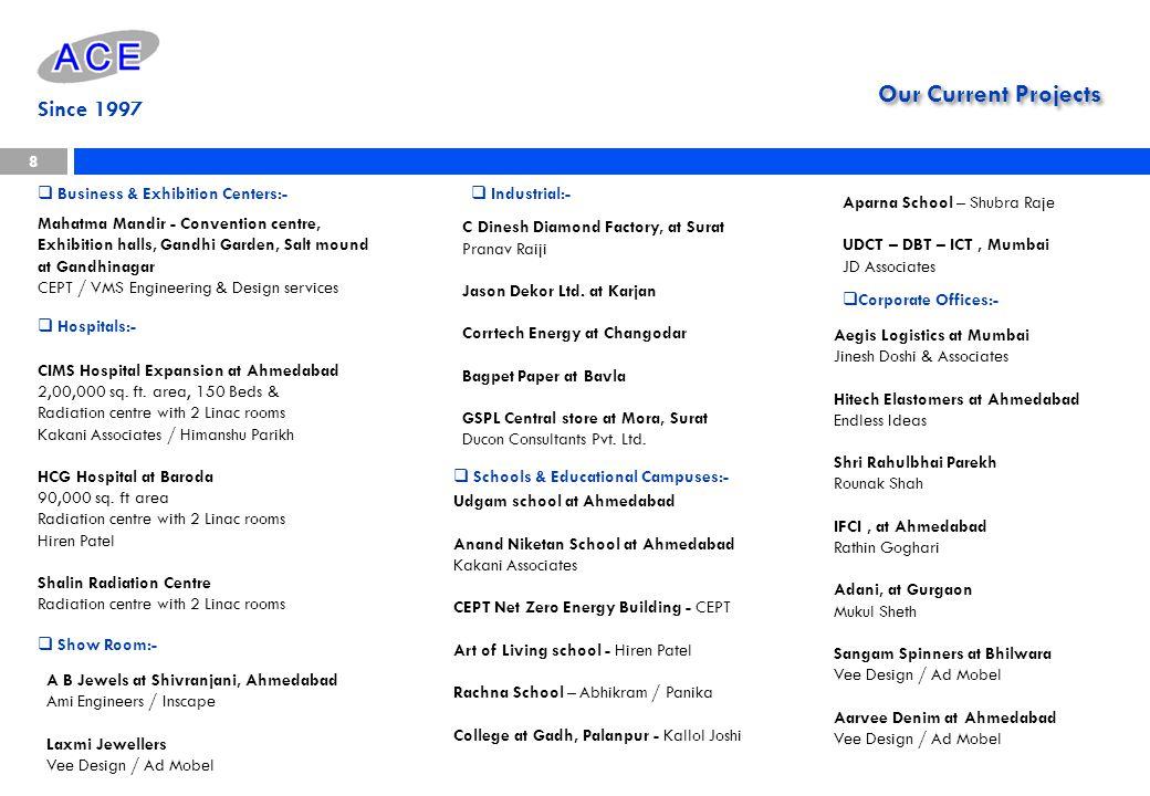 Our Current Projects 8 Since 1997 Mahatma Mandir - Convention centre, Exhibition halls, Gandhi Garden, Salt mound at Gandhinagar CEPT / VMS Engineerin