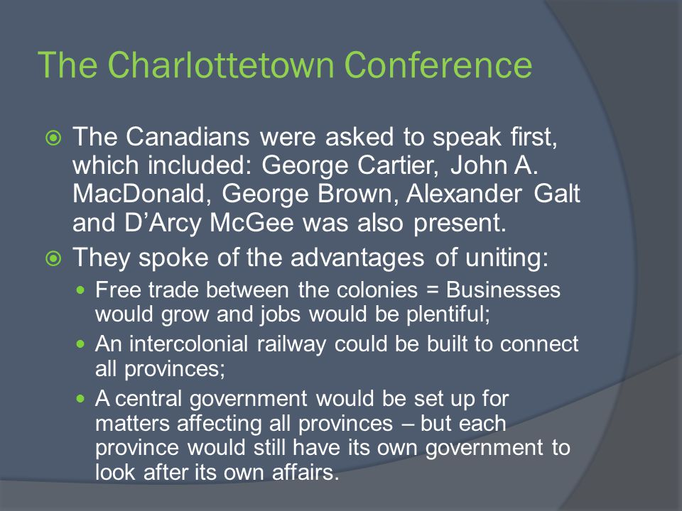 Definitions and Historical Significance TermDefinition Historical Significance Charlottetown Conference A meeting organized by the Maritime colonies to discuss a union among them.