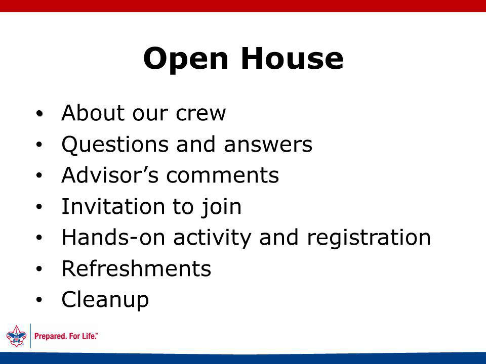 45 Open House Before the meeting Greeting Hands-on activity/icebreaker Welcome What is Venturing