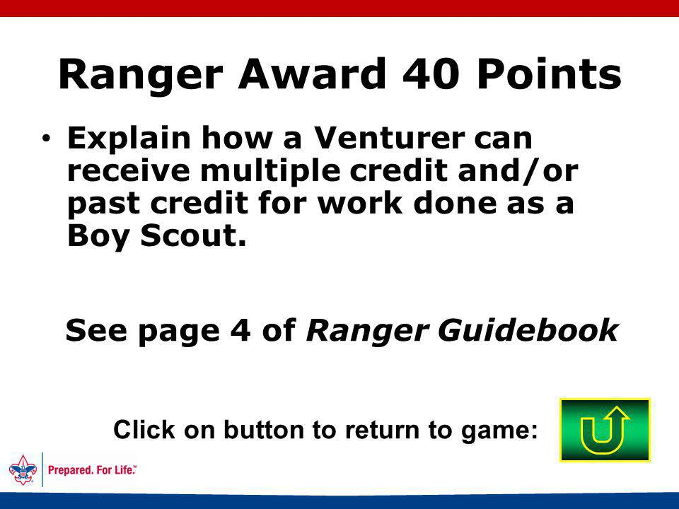 57 Advisor or consultant who worked with you Click on button to return to game: Ranger Award 30 Points Who may sign off on requirements and electives on the scoresheets in the Ranger Guidebook?