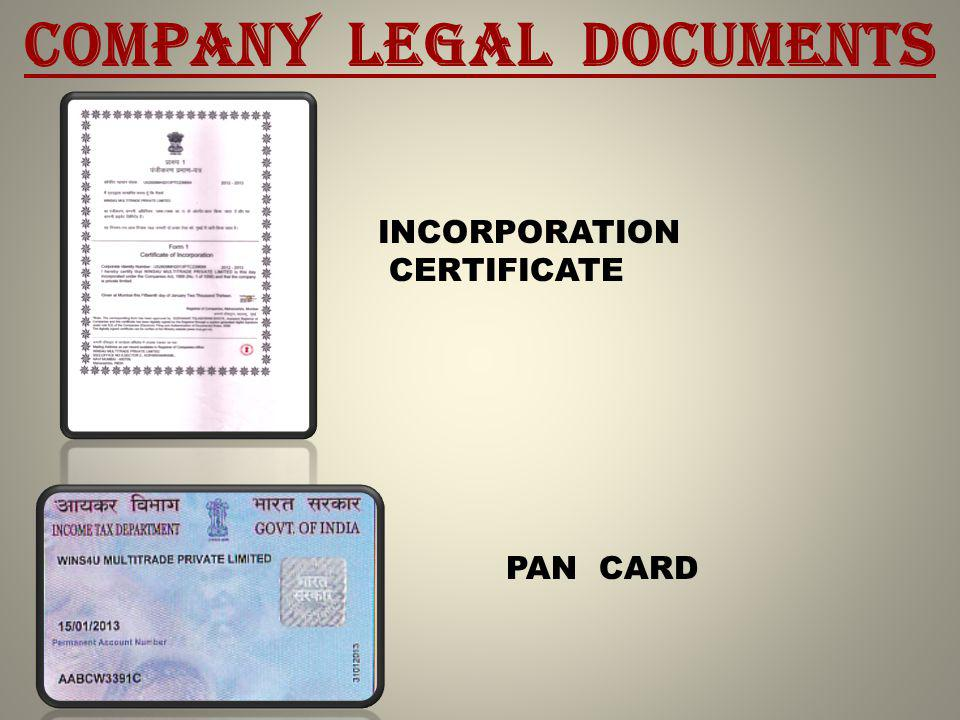 COMPANY LEGAL DOCUMENTS INCORPORATION CERTIFICATE PAN CARD