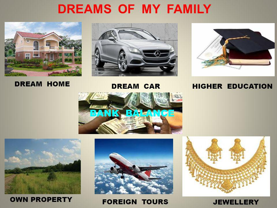 DREAMS OF MY FAMILY DREAM HOME HIGHER EDUCATION OWN PROPERTY JEWELLERY DREAM CAR FOREIGN TOURS BANK BALANCE