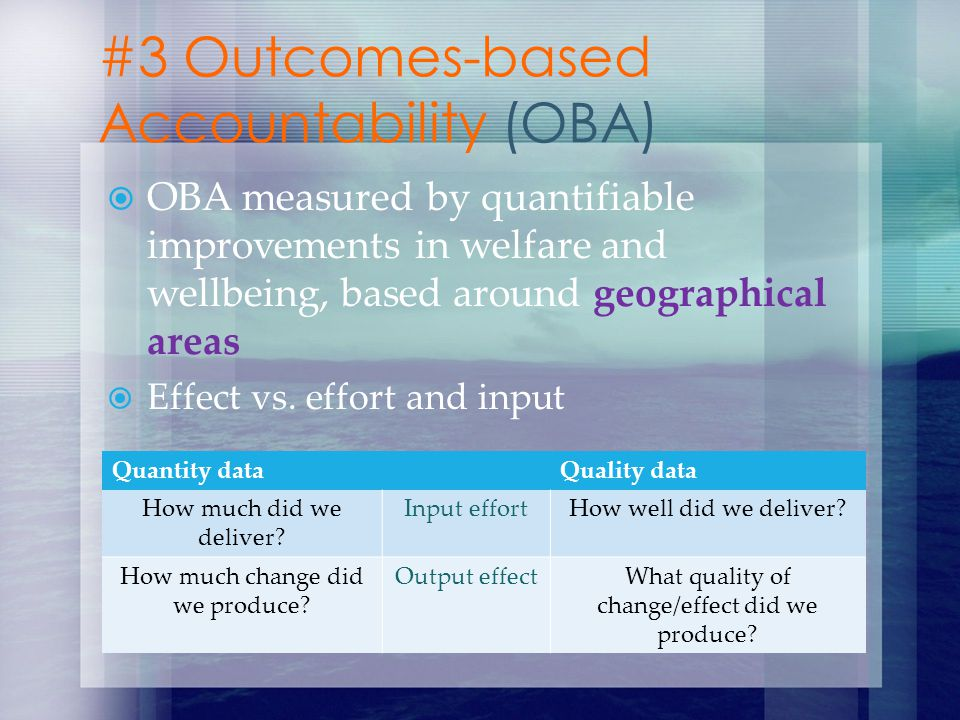 OBA measured by quantifiable improvements in welfare and wellbeing, based around geographical areas Effect vs. effort and input #3 Outcomes-based Acco