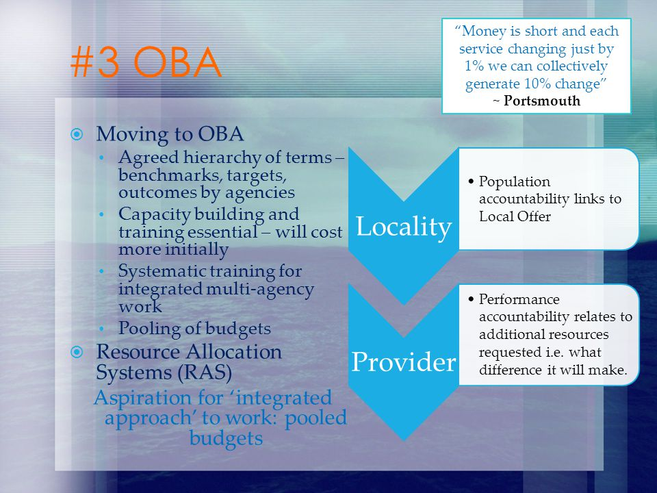 Moving to OBA Agreed hierarchy of terms – benchmarks, targets, outcomes by agencies Capacity building and training essential – will cost more initiall