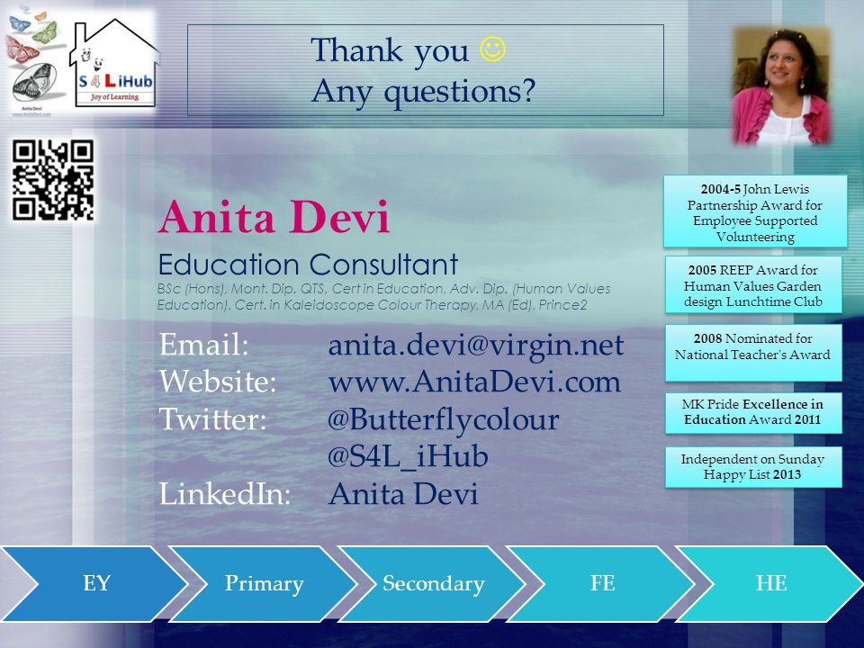 Anita Devi Education Consultant BSc (Hons), Mont. Dip.