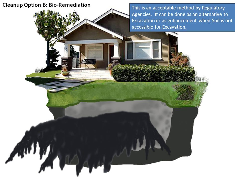Cleanup Option B: Bio-Remediation Bio-Remediation is less intrusive than Excavation, but should be considered when a house will not be sold within the next 5 years.