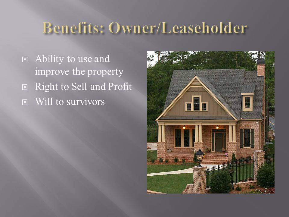 Ability to use and improve the property Right to Sell and Profit Will to survivors