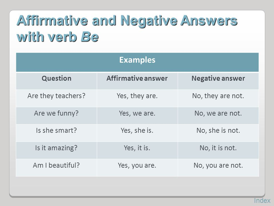 Affirmative and Negative Answers with verb Be Examples QuestionAffirmative answerNegative answer Are they teachers?Yes, they are.No, they are not. Are