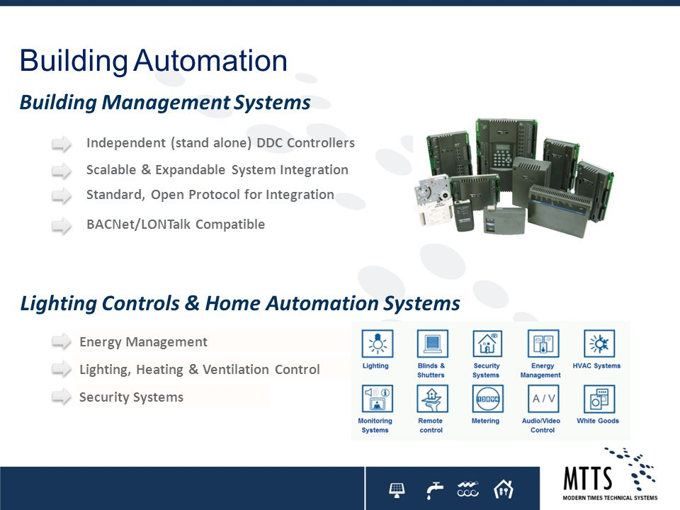 Building Automation Energy Management Independent (stand alone) DDC Controllers Scalable & Expandable System Integration Standard, Open Protocol for I