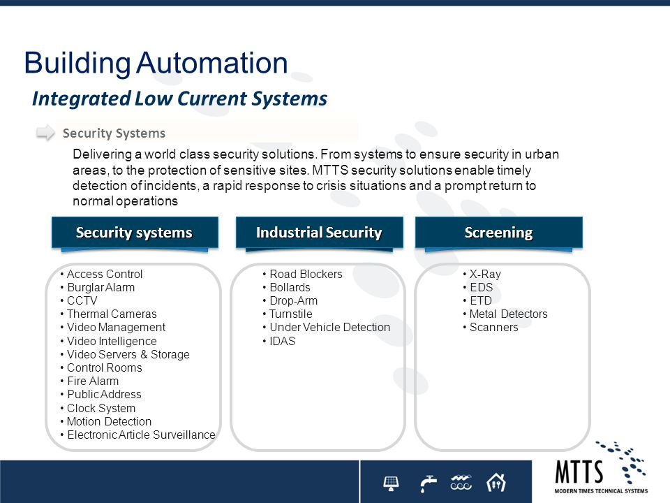 Delivering a world class security solutions. From systems to ensure security in urban areas, to the protection of sensitive sites. MTTS security solut