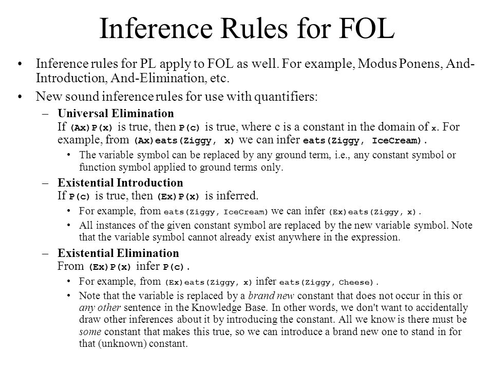 Inference Rules for FOL Inference rules for PL apply to FOL as well.