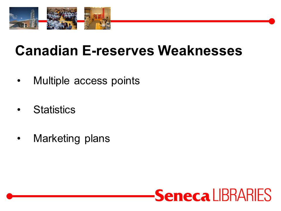 Canadian E-reserves Weaknesses Multiple access points Statistics Marketing plans