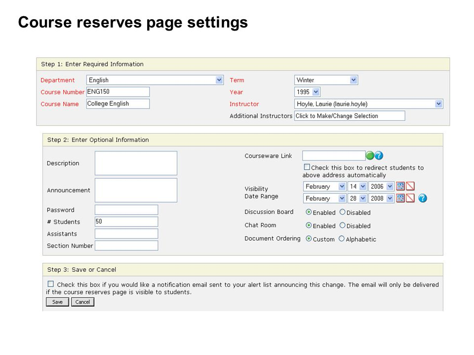 Course reserves page settings
