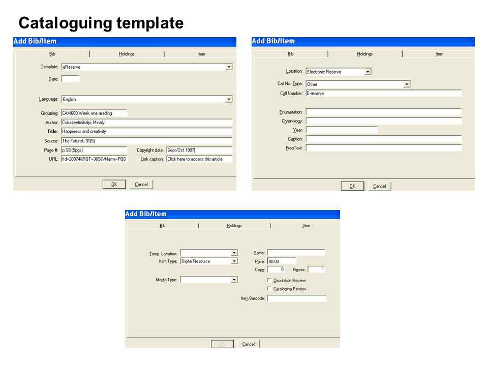 Cataloguing template