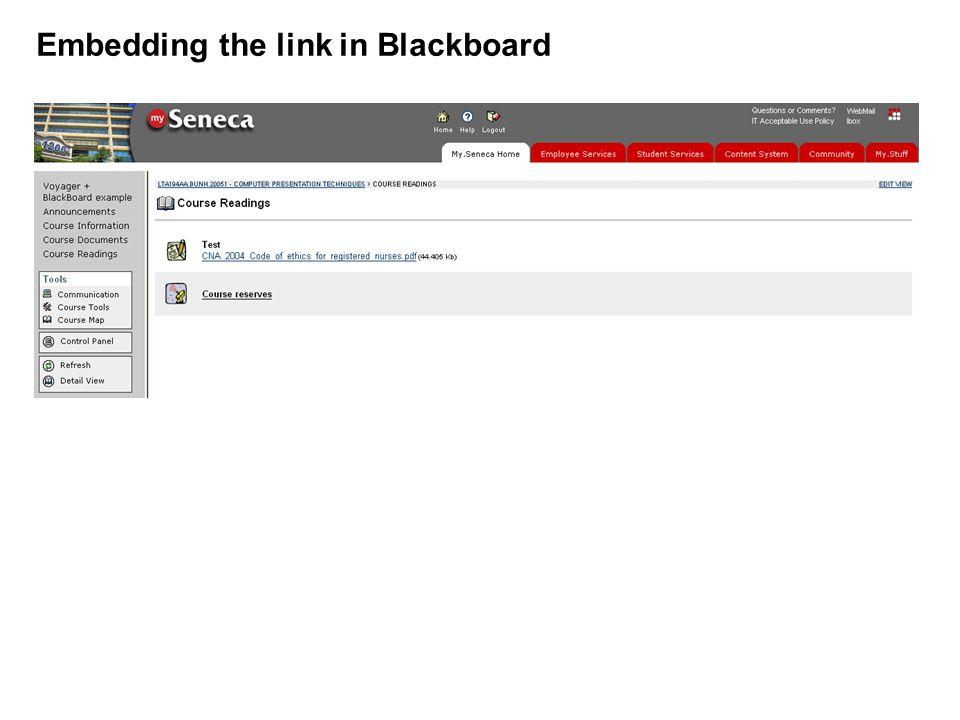 Embedding the link in Blackboard