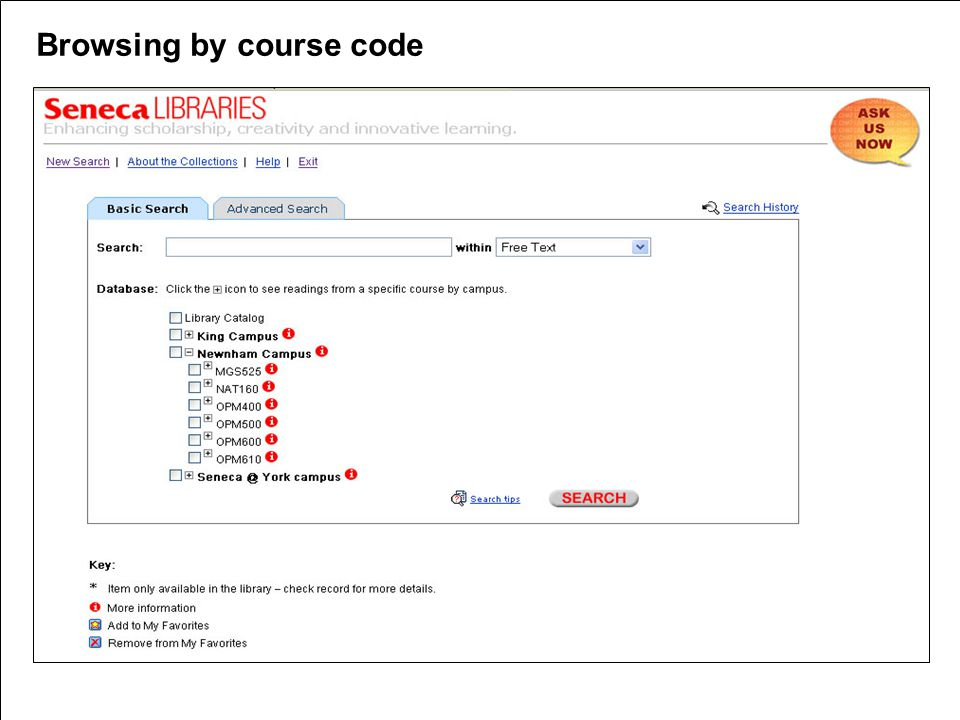 Browsing by course code