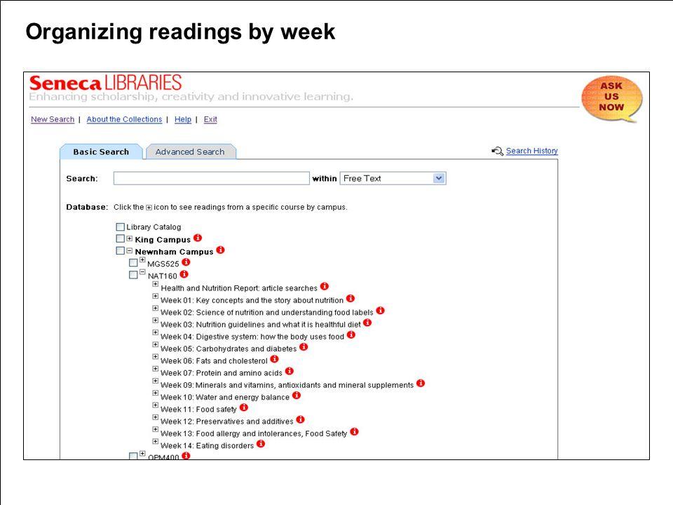 Organizing readings by week