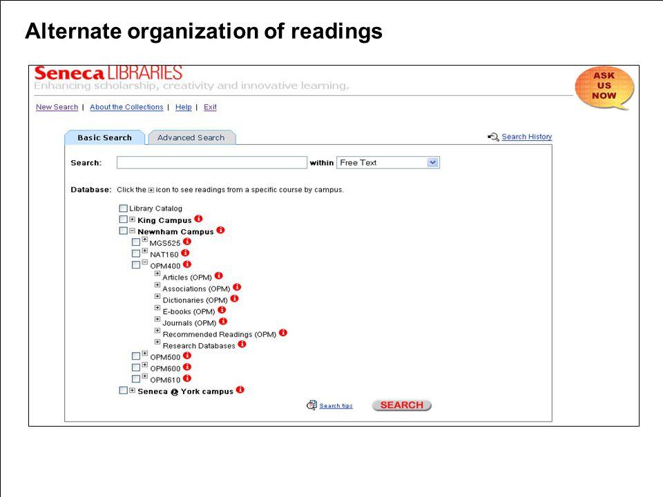 Alternate organization of readings