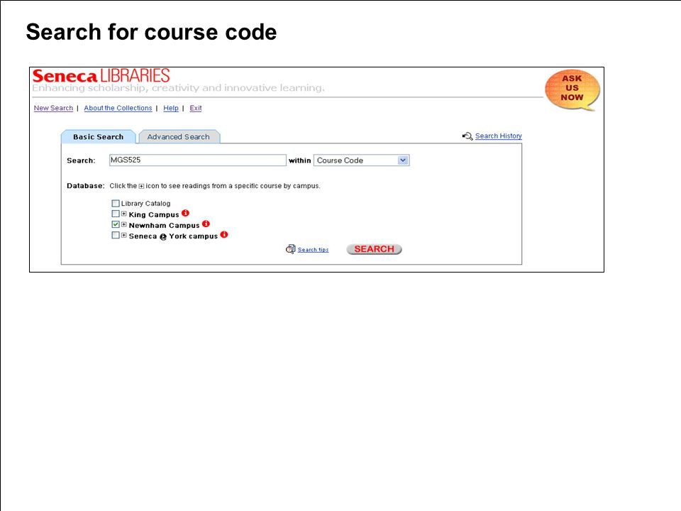 Search for course code