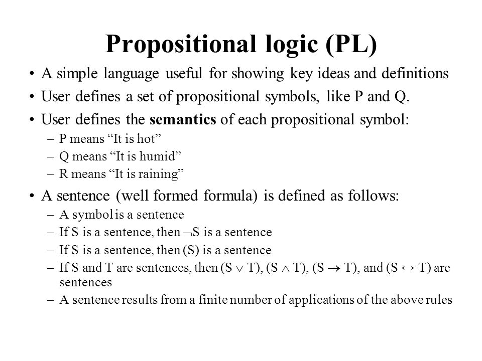 A BNF grammar of sentences in propositional logic S := ; := | ; := TRUE | FALSE | P | Q | S ; := ( ) | | NOT ; := NOT | AND | OR | IMPLIES | EQUIVALENT ;