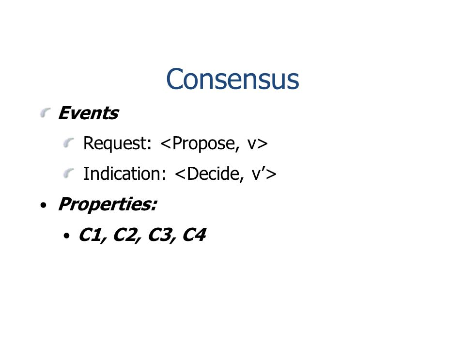 Consensus Events Request: Indication: Properties: C1, C2, C3, C4