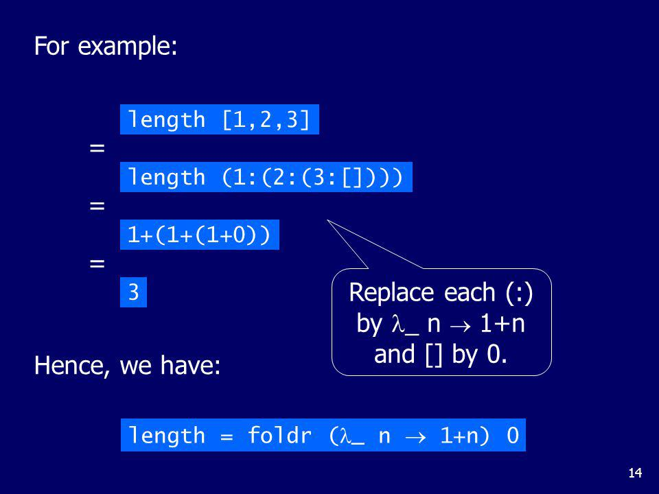 14 length [1,2,3] length (1:(2:(3:[]))) = 1+(1+(1+0)) = 3 = Hence, we have: length = foldr ( _ n 1+n) 0 Replace each (:) by _ n 1+n and [] by 0. For e