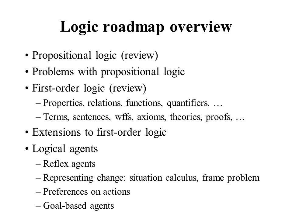 Logic roadmap overview Propositional logic (review) Problems with propositional logic First-order logic (review) –Properties, relations, functions, qu