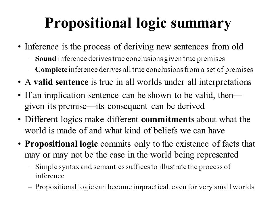 Propositional logic summary Inference is the process of deriving new sentences from old –Sound inference derives true conclusions given true premises