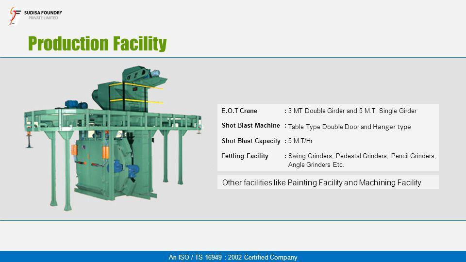 Production Facility An ISO / TS 16949 : 2002 Certified Company E.O.T Crane:3 MT Double Girder and 5 M.T. Single Girder Shot Blast Machine: Table Type