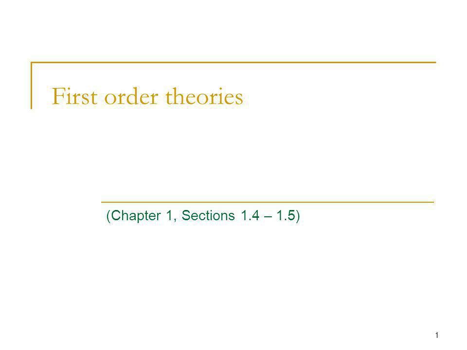 1 First order theories (Chapter 1, Sections 1.4 – 1.5)