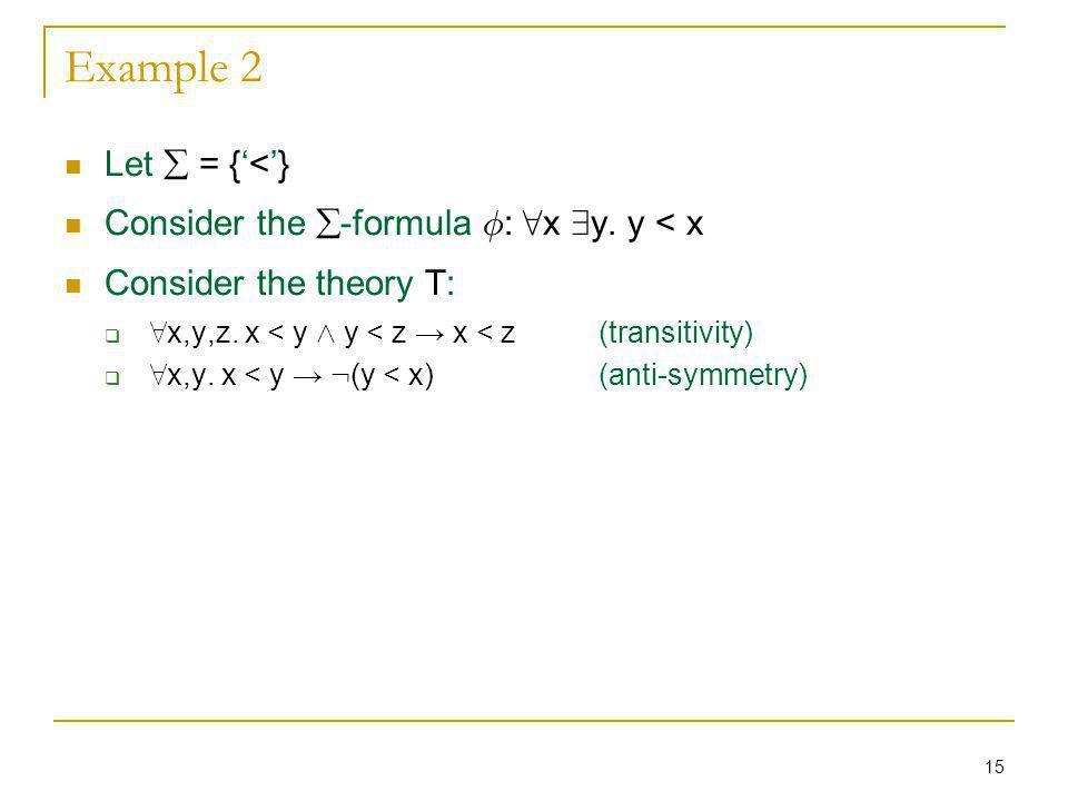 15 Example 2 Let = {<} Consider the -formula Á : 8 x 9 y.