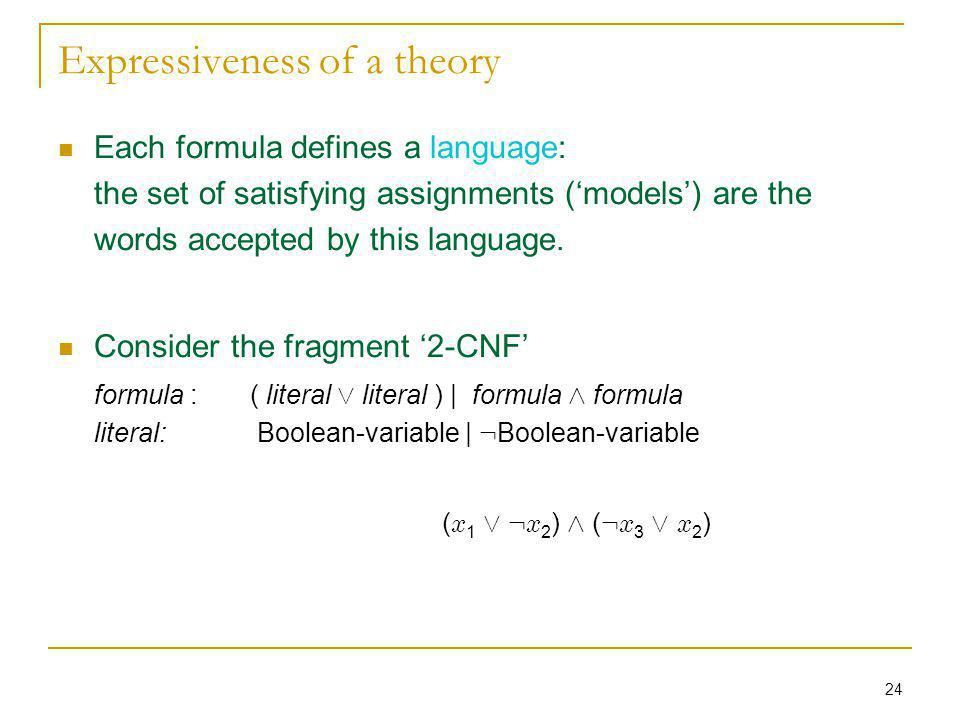24 Expressiveness of a theory Each formula defines a language: the set of satisfying assignments (models) are the words accepted by this language. Con