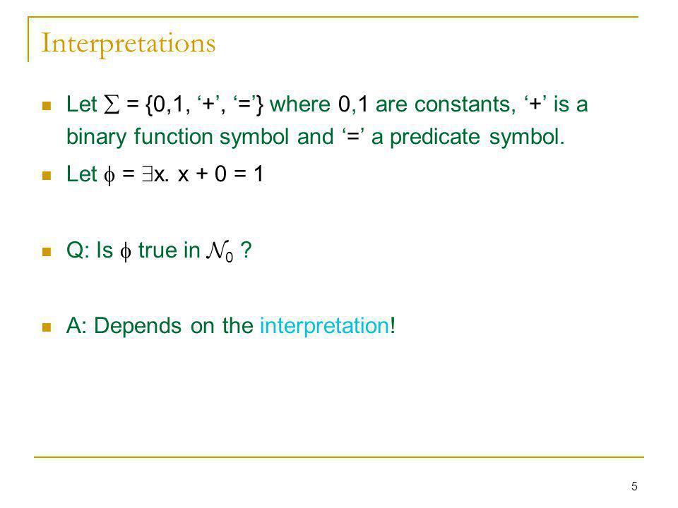 16 Example 2 (contd) Recall: Á : 8 x 9 y.y < x Is Á T-satisfiable.