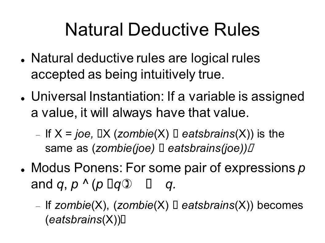 Natural Deductive Rules Natural deductive rules are logical rules accepted as being intuitively true. Universal Instantiation: If a variable is assign