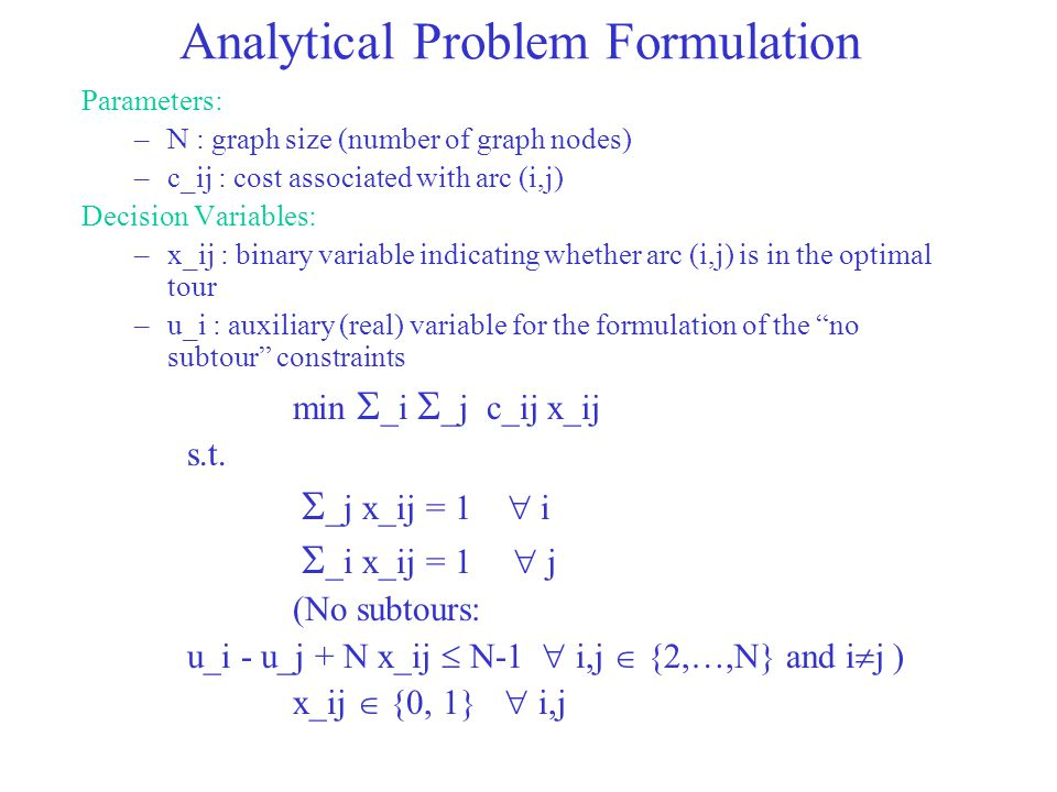Analytical Problem Formulation Parameters: –N : graph size (number of graph nodes) –c_ij : cost associated with arc (i,j) Decision Variables: –x_ij :
