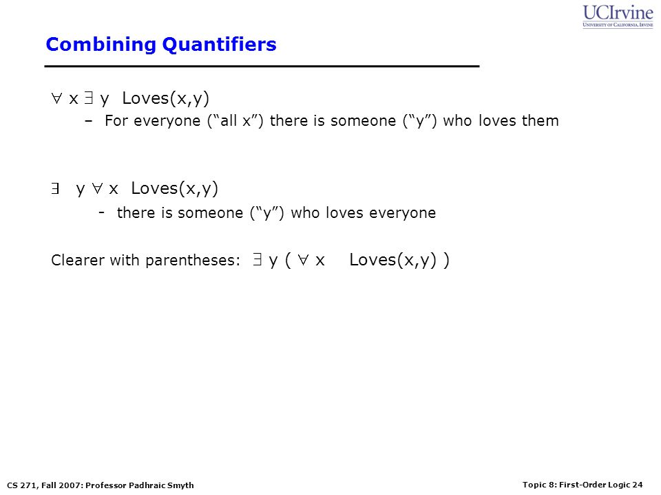 Topic 8: First-Order Logic 24 CS 271, Fall 2007: Professor Padhraic Smyth Combining Quantifiers x y Loves(x,y) –For everyone (all x) there is someone (y) who loves them y x Loves(x,y) - there is someone (y) who loves everyone Clearer with parentheses: y ( x Loves(x,y) )