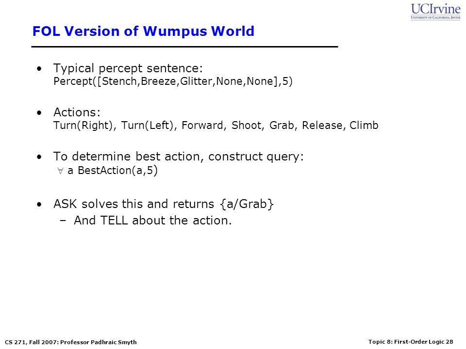 Topic 8: First-Order Logic 28 CS 271, Fall 2007: Professor Padhraic Smyth FOL Version of Wumpus World Typical percept sentence: Percept([Stench,Breeze