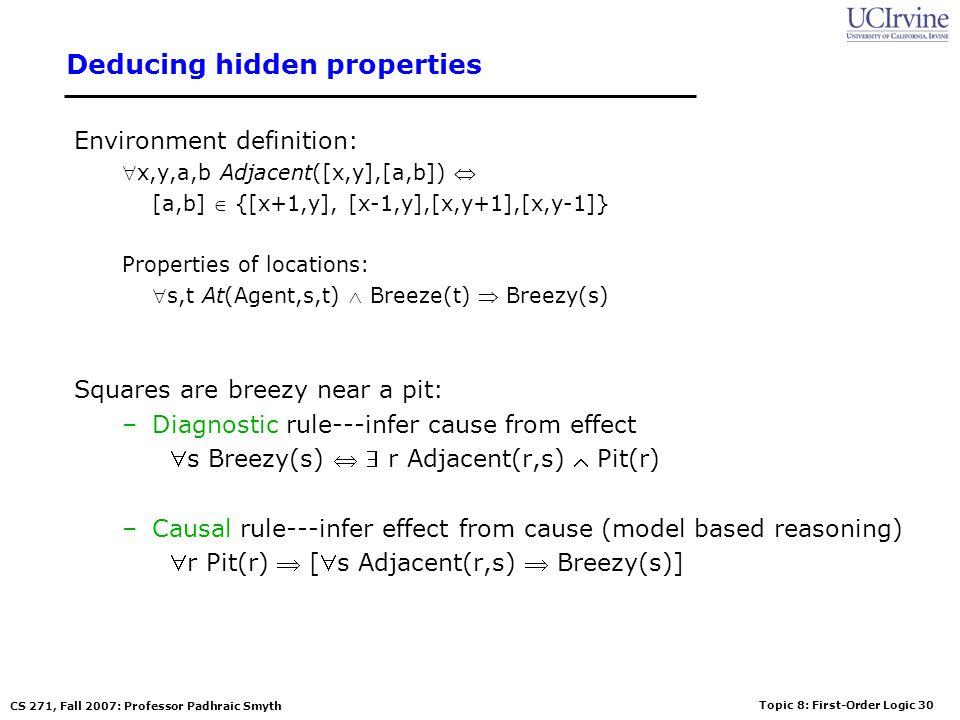 Topic 8: First-Order Logic 30 CS 271, Fall 2007: Professor Padhraic Smyth Deducing hidden properties Environment definition: x,y,a,b Adjacent([x,y],[a