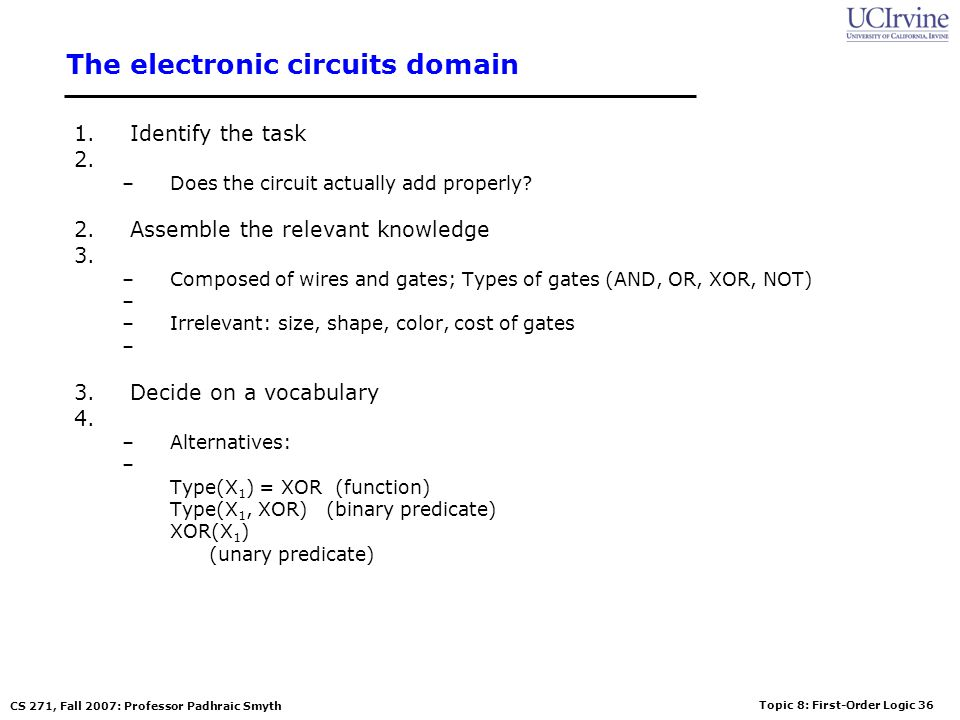 Topic 8: First-Order Logic 36 CS 271, Fall 2007: Professor Padhraic Smyth The electronic circuits domain 1.Identify the task –Does the circuit actuall