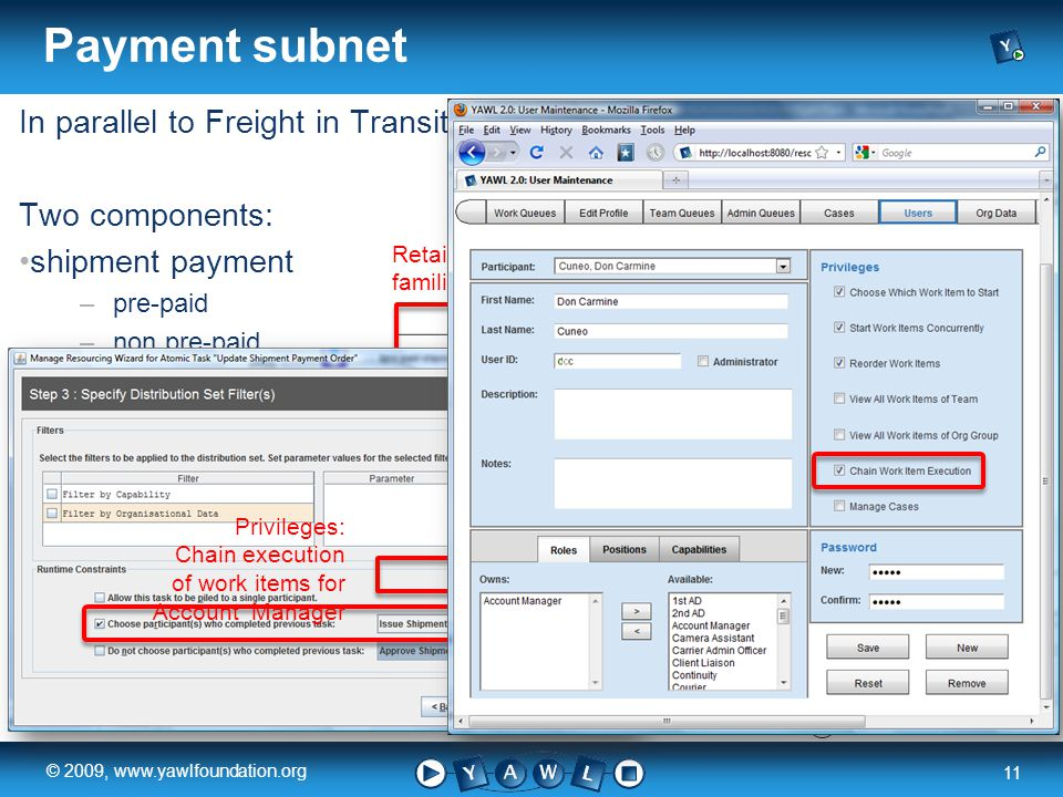 a university for the world real R 11 © 2009, www.yawlfoundation.org In parallel to Freight in Transit Two components: shipment payment –pre-paid –non pre-paid freight payment Payment subnet Retain familiar Privileges: Chain execution of work items for Account Manager