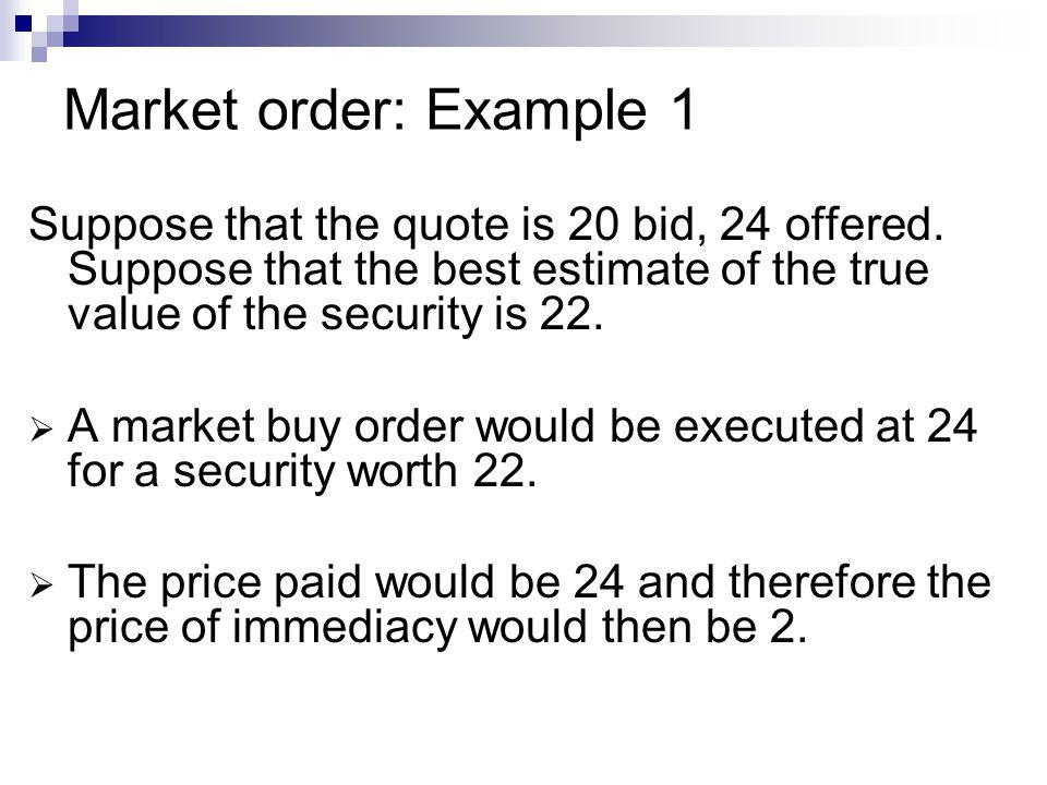 Market order: Example 1 Suppose that the quote is 20 bid, 24 offered. Suppose that the best estimate of the true value of the security is 22. A market
