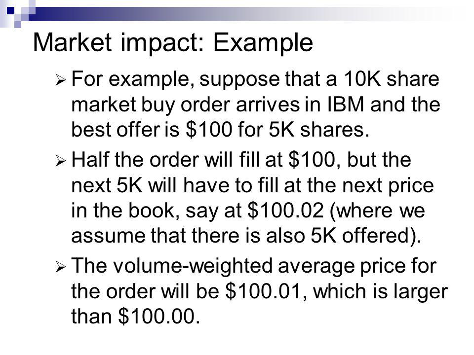 Market impact: Example For example, suppose that a 10K share market buy order arrives in IBM and the best offer is $100 for 5K shares. Half the order