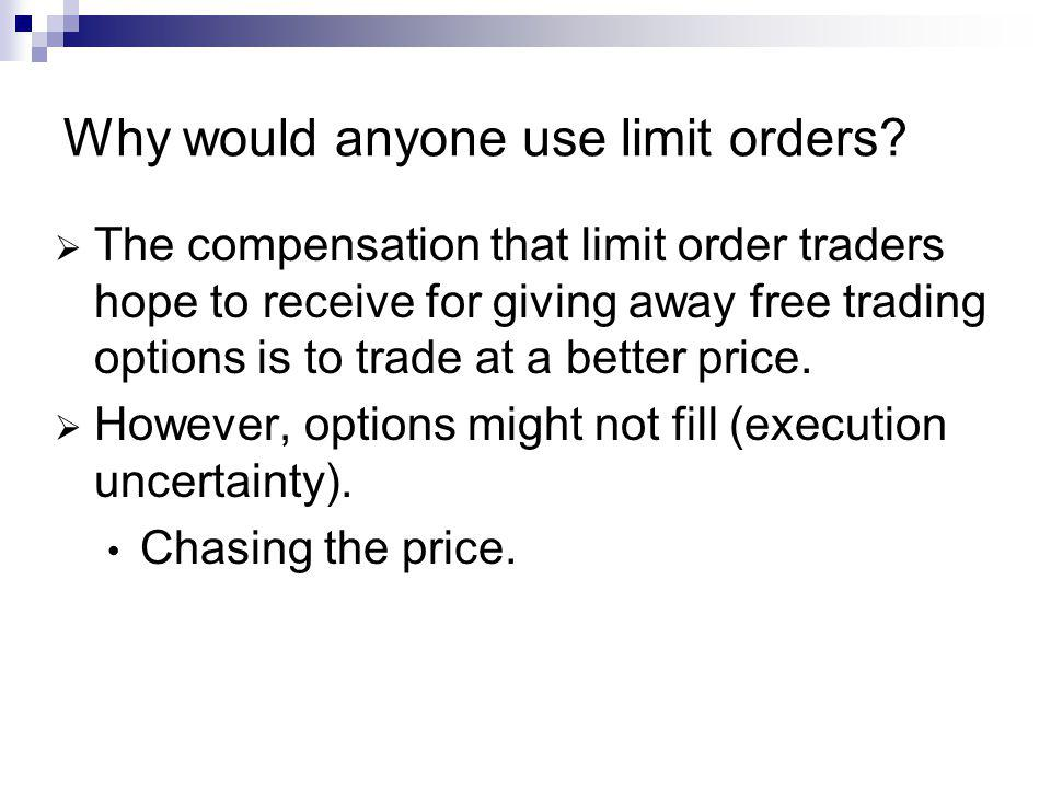 Why would anyone use limit orders.