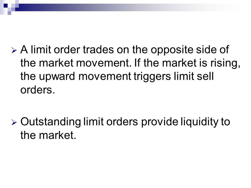 A limit order trades on the opposite side of the market movement.