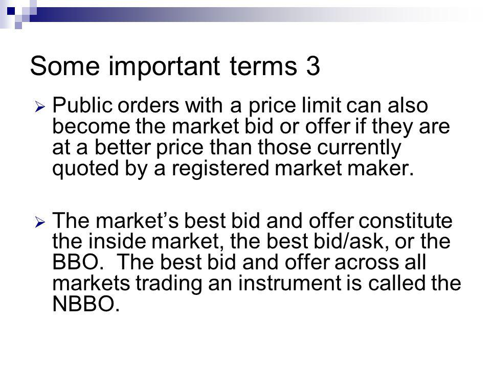 Some important terms 3 Public orders with a price limit can also become the market bid or offer if they are at a better price than those currently quoted by a registered market maker.