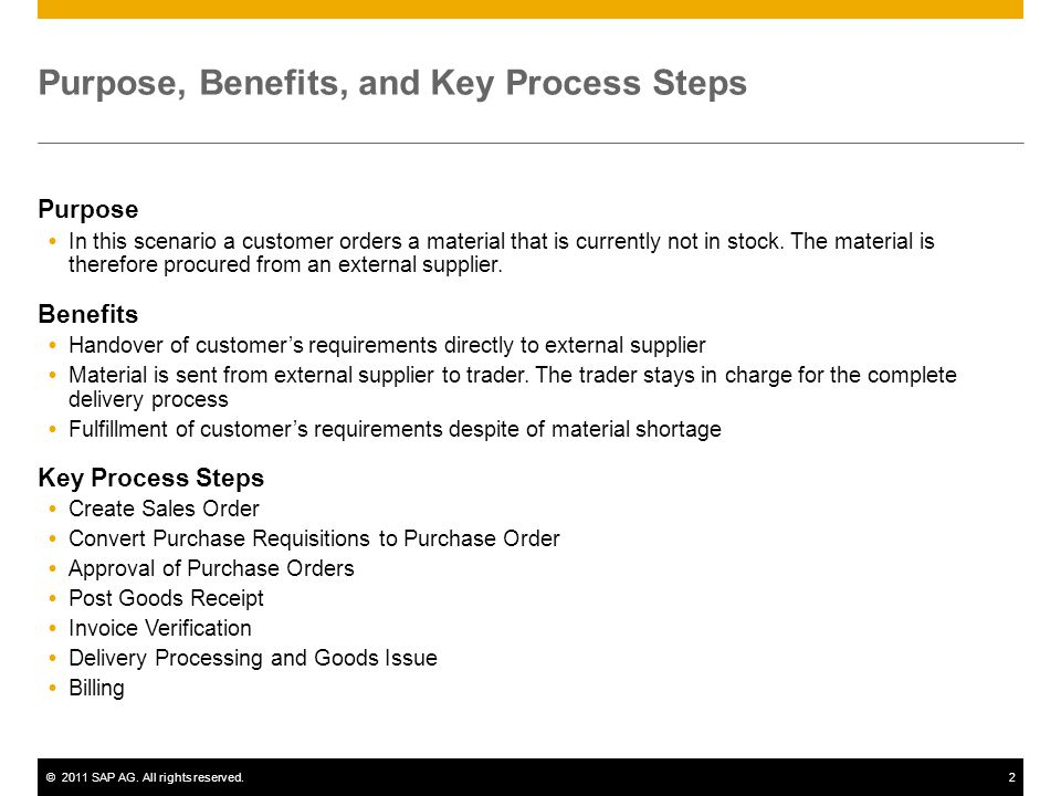 ©2011 SAP AG. All rights reserved.2 Purpose, Benefits, and Key Process Steps Purpose In this scenario a customer orders a material that is currently n