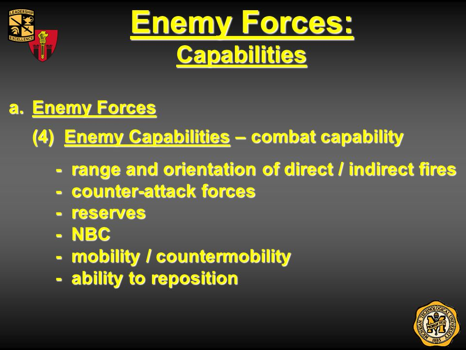 Enemy Forces: Capabilities a.Enemy Forces (4) Enemy Capabilities – combat capability - range and orientation of direct / indirect fires - counter-atta